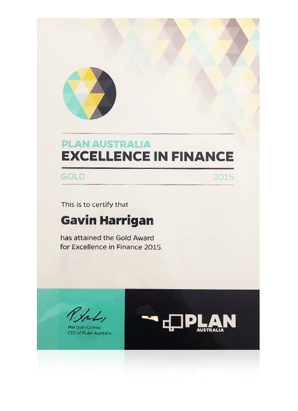 Gavin Harrigan awarded the gold award from Plan Australia