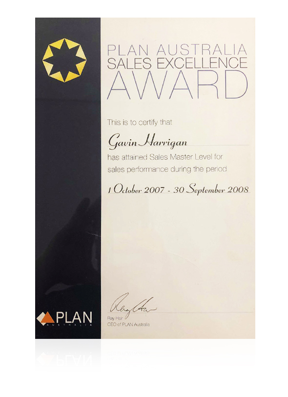 Plan Australia sales master award, Gavin Harrigan