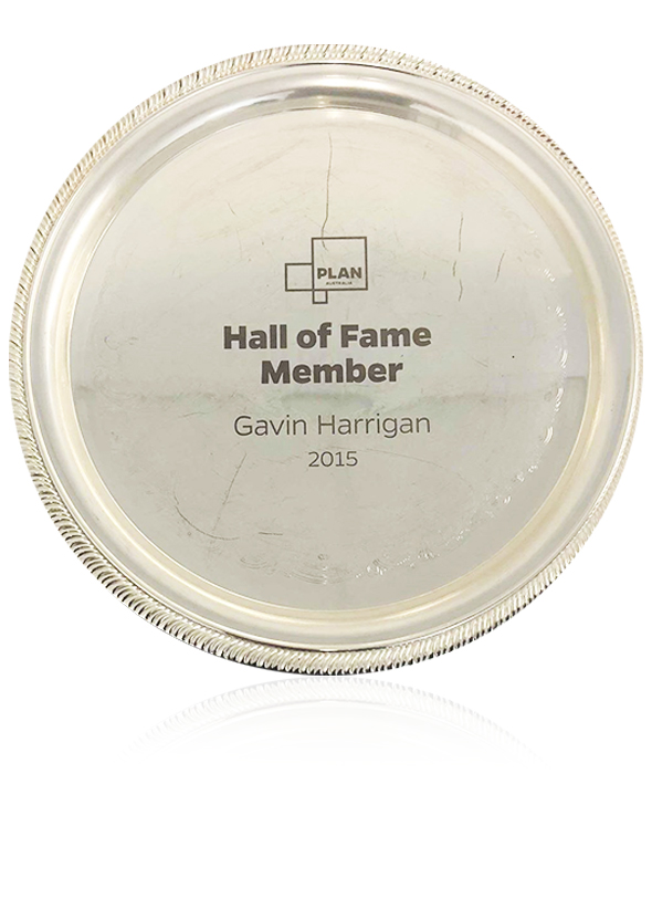 Gavin awarded the Plan Australia hall of fame award in 2015