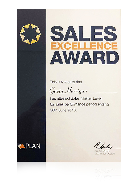 The plan Australia sales excellence award in 2013