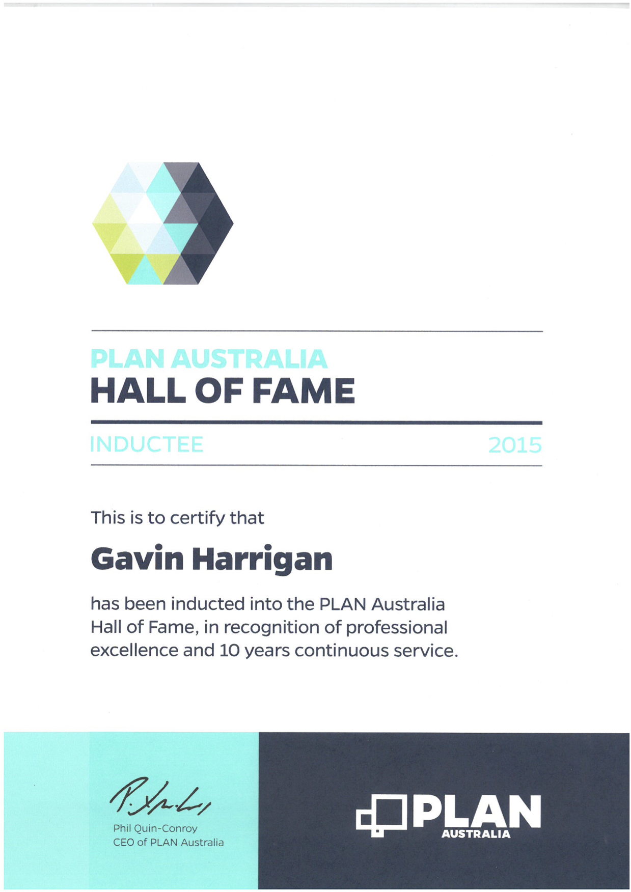 Plan Australia Hall of fame certificate awarded to Gavin