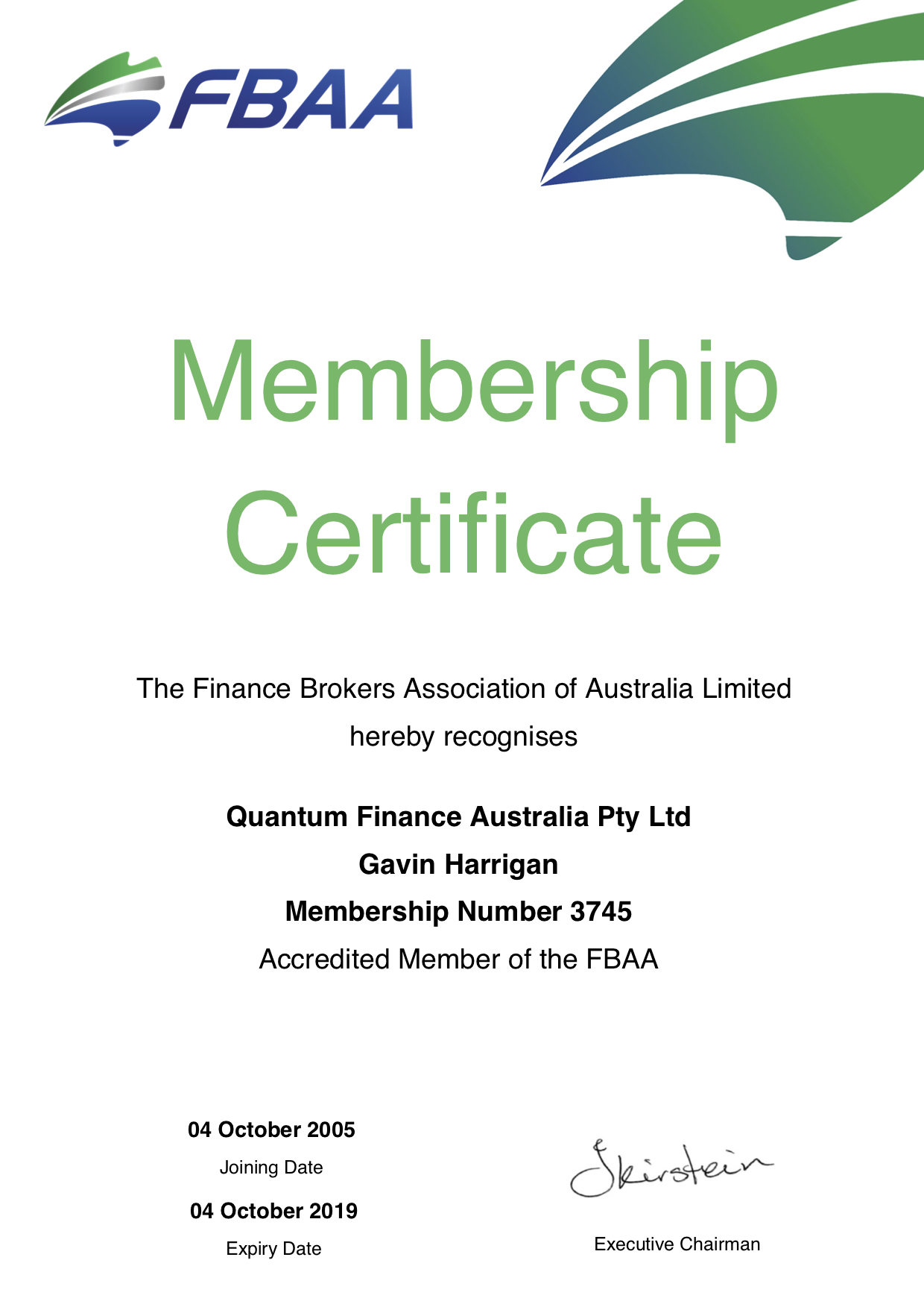 The finance brokers association of Australia regionalising Quantum Finance as a member