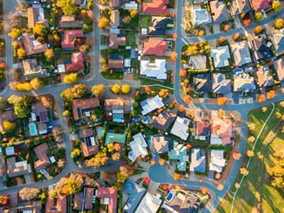 An Areal shot of Australian houses