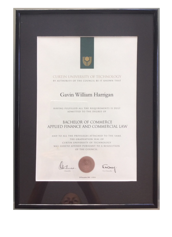 Gavin Harrigan's Batchelor of Commerce, Applied Finance and Commercial Law university degree certificate. Proof of qualification at curtin university