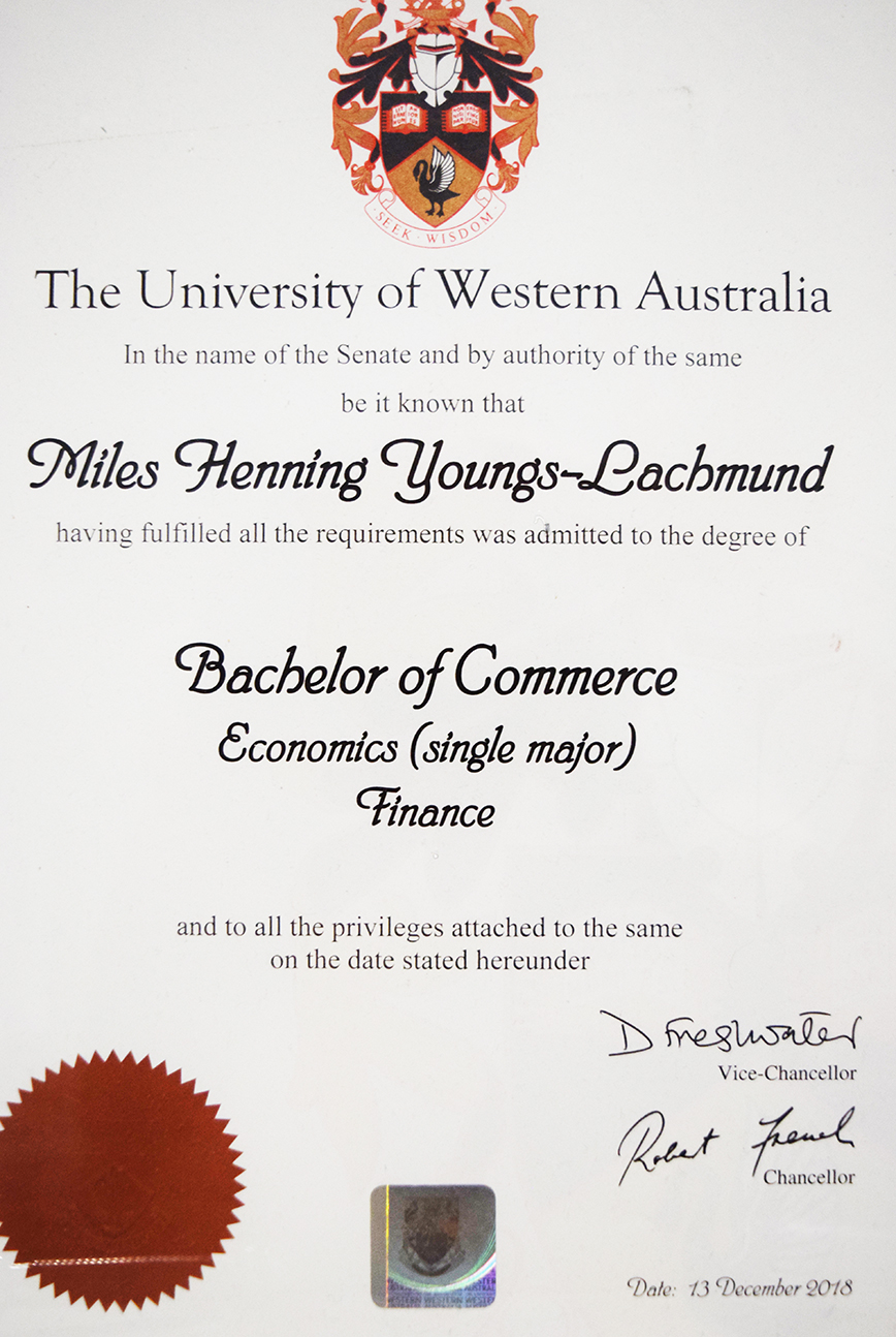 Batchelor of Commerce, Economics and Finance certification for Miles Youngs