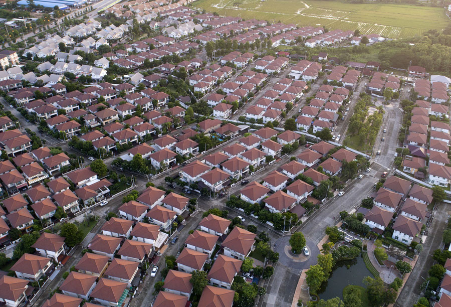 A birds eye veiw of an Australian suburb