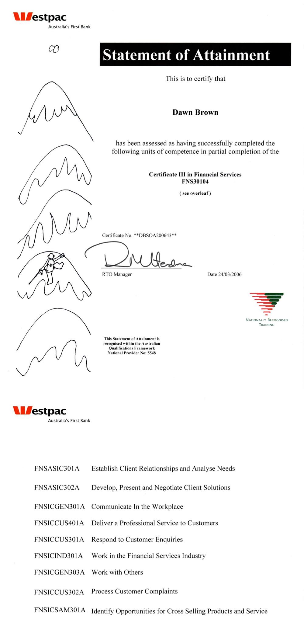 Westpac Certificate three in financial