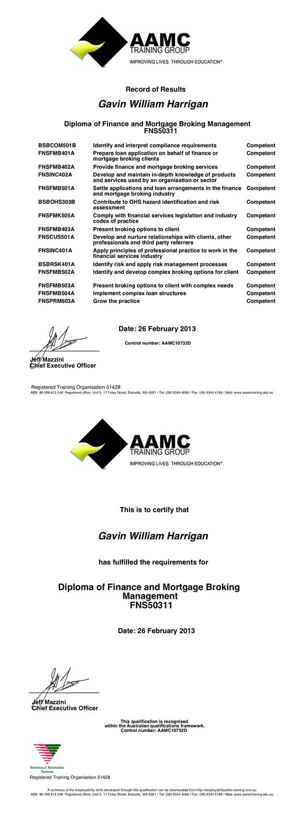 Gavins diploma of finance and mortgage broking qualification