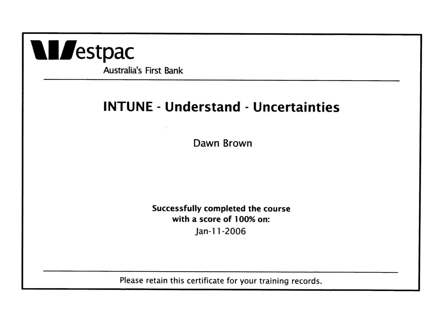 Westpac in tune, understanding uncertainties certificate