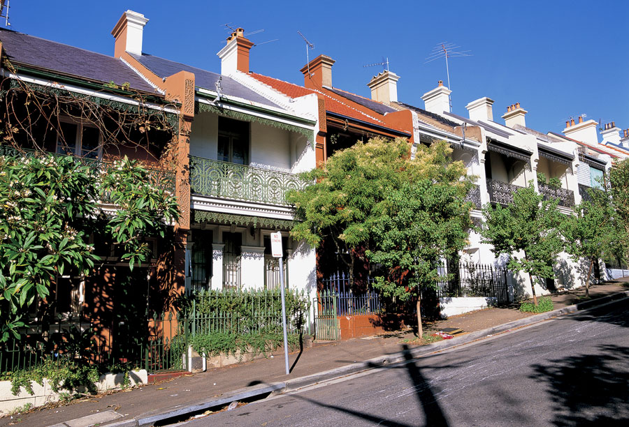 Town houses similar to ones seen in Hobart, Tasmania.