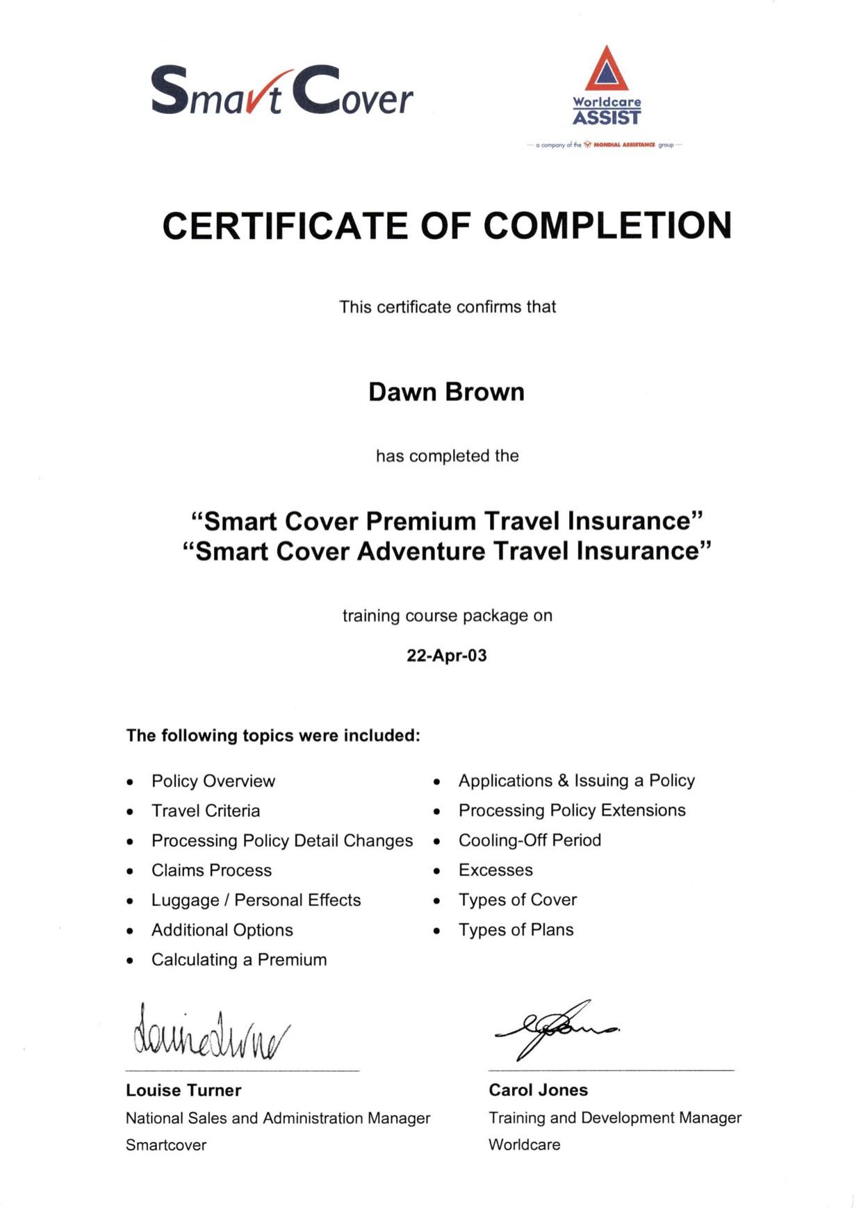 Smart cover premium travel insurance certificate