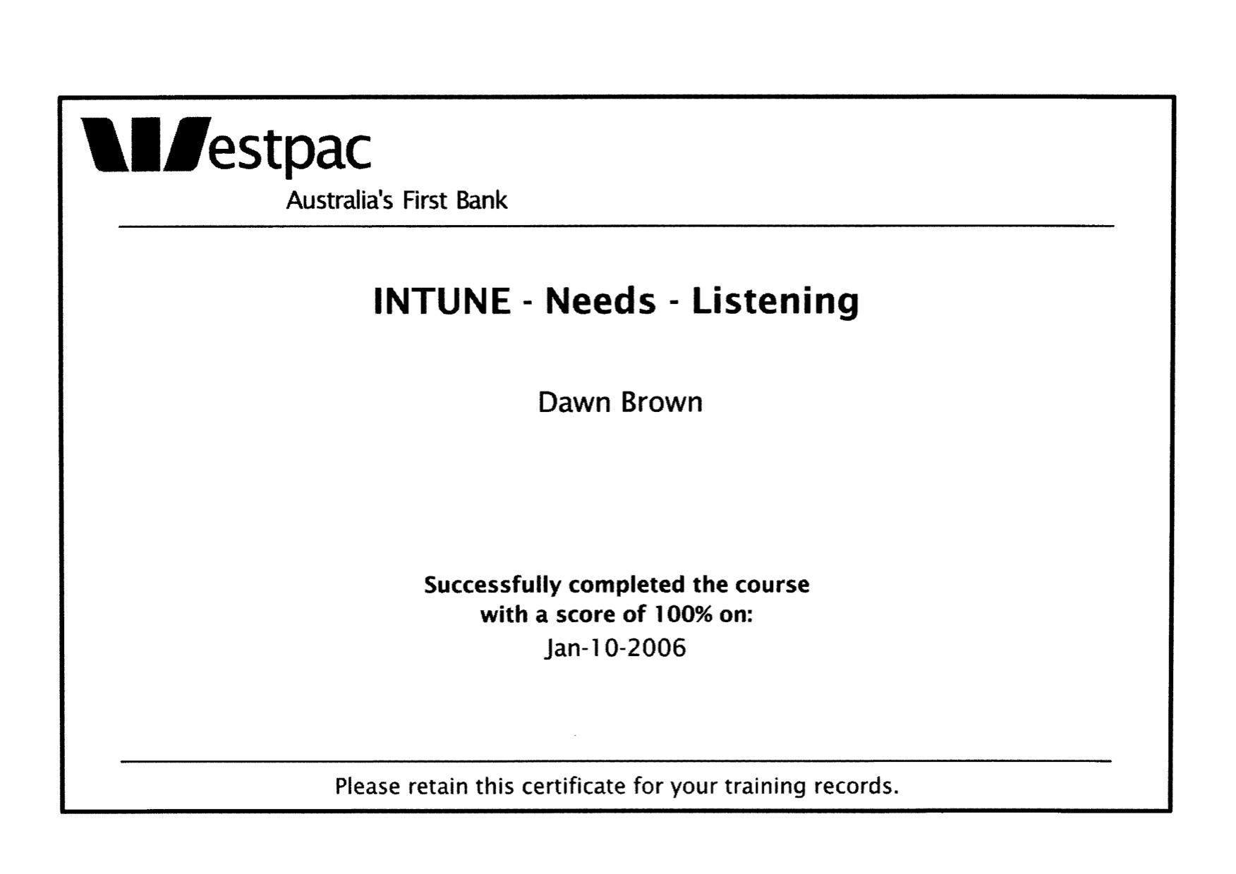 Westpac in tune needs listening certificate