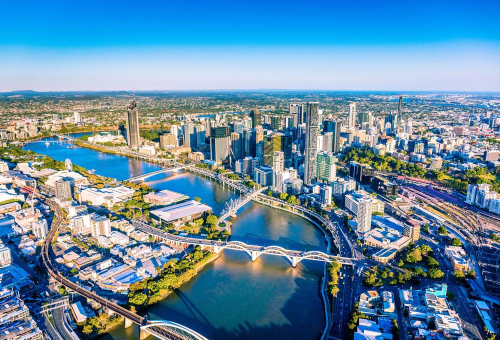 Brisbane city taken from a sky scraper