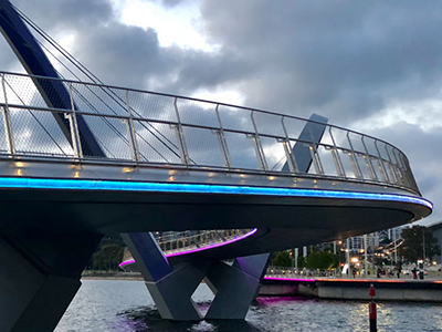 A blue bridge near the Perth CBD in Australia