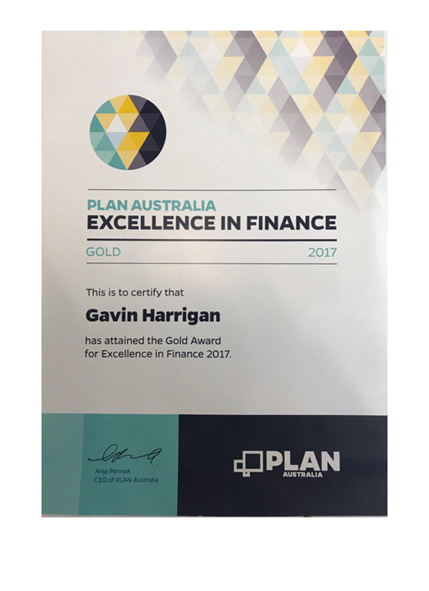Plan Australia 2017 excellence in finance award