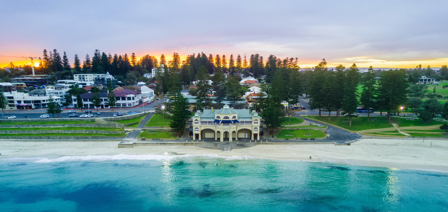 Cottesloe Beach in Western Australia from an areal view