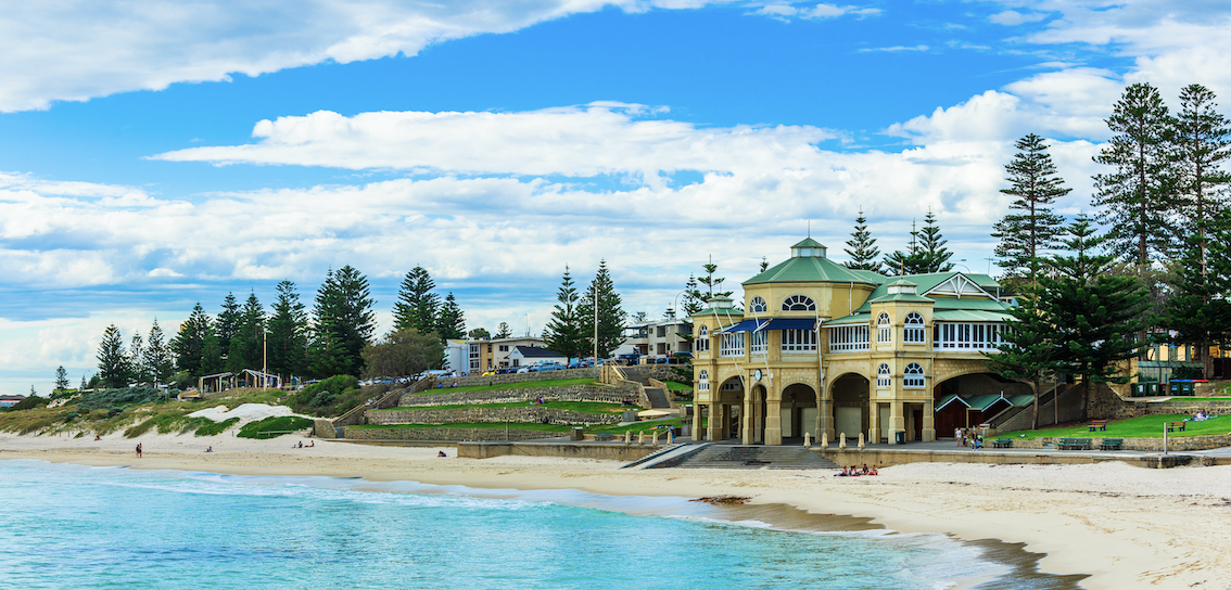 Cottesloe beach in Western Australia on a clear day.