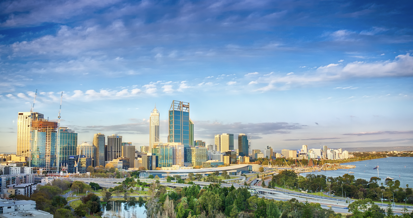 The city of Perth on a fine day with the photo taken from a hill.