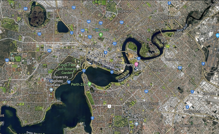 A snap shot if Perth from google maps.