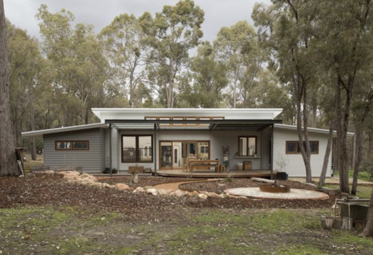 An eco home in the bush built near Perth in Western Australia.