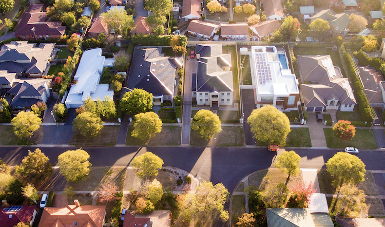 An aerial view of a leafy green Australia suburb.