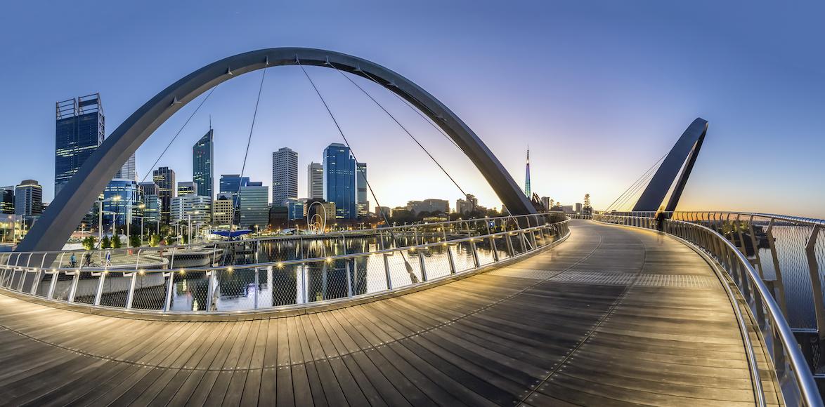 Elizabeth Quay bridge in the evening in Perth.